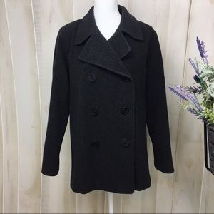 Vintage Grey Double Breasted Wool Peacoat